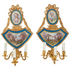 Pair of 19th Century Sconces, Napoleon III Period, Gilt Bronze and Porcelain