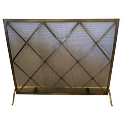 Large Mid Century Brass & Iron Mesh Fireplace Screen in Manner of Jean Royere