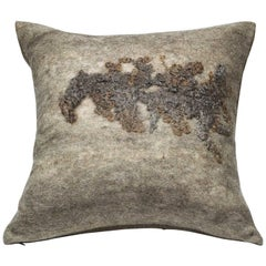Wool Throw Pillow, Gray, Shetland Sheep Wool, Wensleydale Wool Pillow