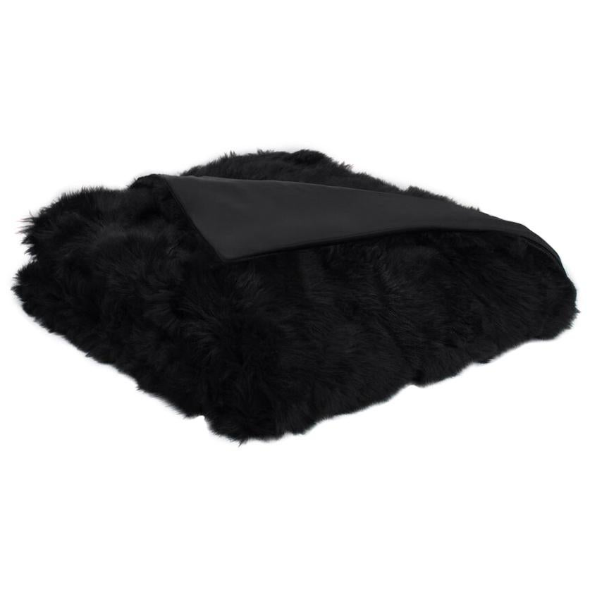 Luxury Fur Throw, Black, Real Toscana Sheep Fur, Throw Blanket / Bed Runner