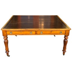 Satin Birch English Writing Desk with Leather Writing Surface, circa 1840