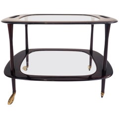 Cesare Lacca, Super Elegant Bar Cart in Mahogany
