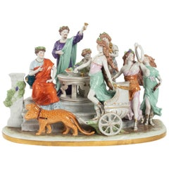 Porcelain Group Representing a Performing Scene From Roman Comedians