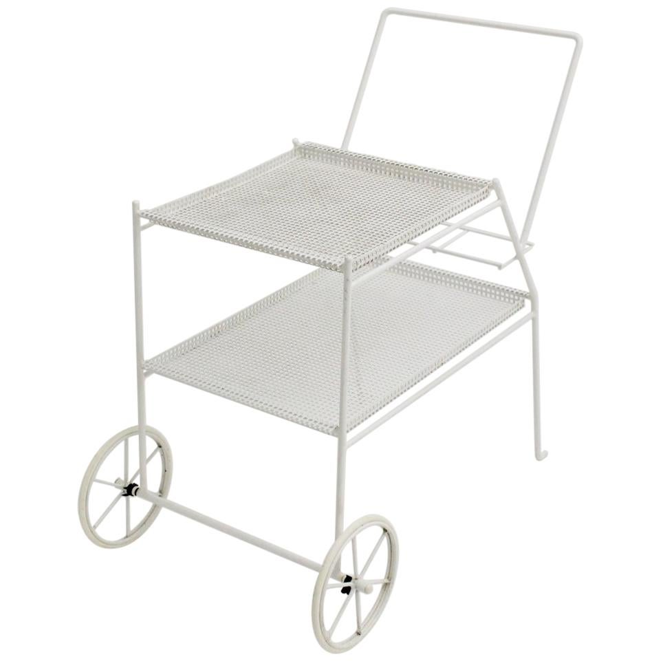 White Vintage Metal Bar Cart in the Style of Mathieu Mategot, circa 1960