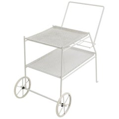 White Vintage Metal Bar Cart in the Style of Mathieu Mategot, circa 1960