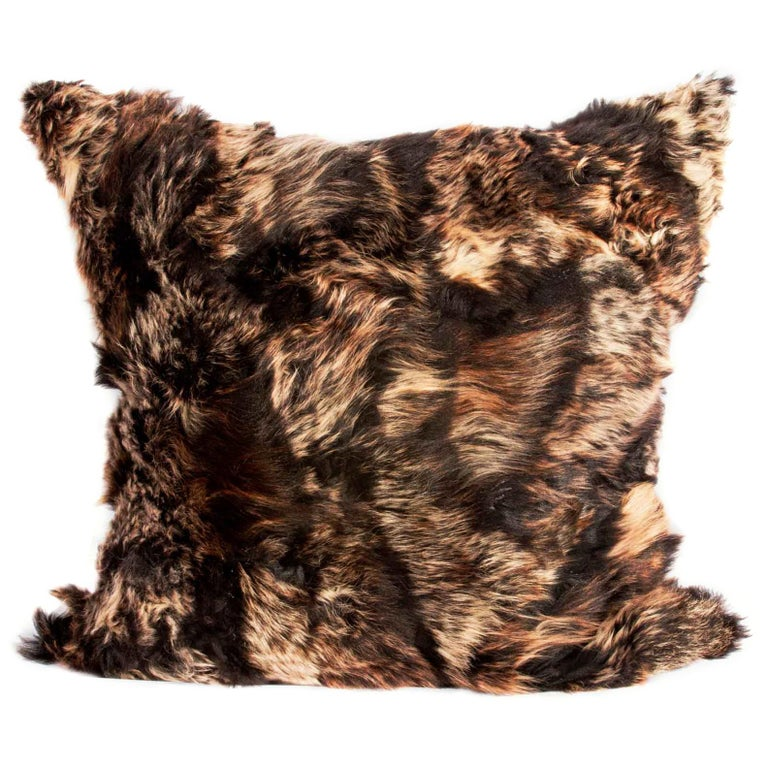 Real Fur Pillow, Truffle Brown, Authentic Toscana Sheep Fur For Sale