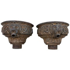 Cast Iron Downspouts with Lions Face Details Late 19th Century