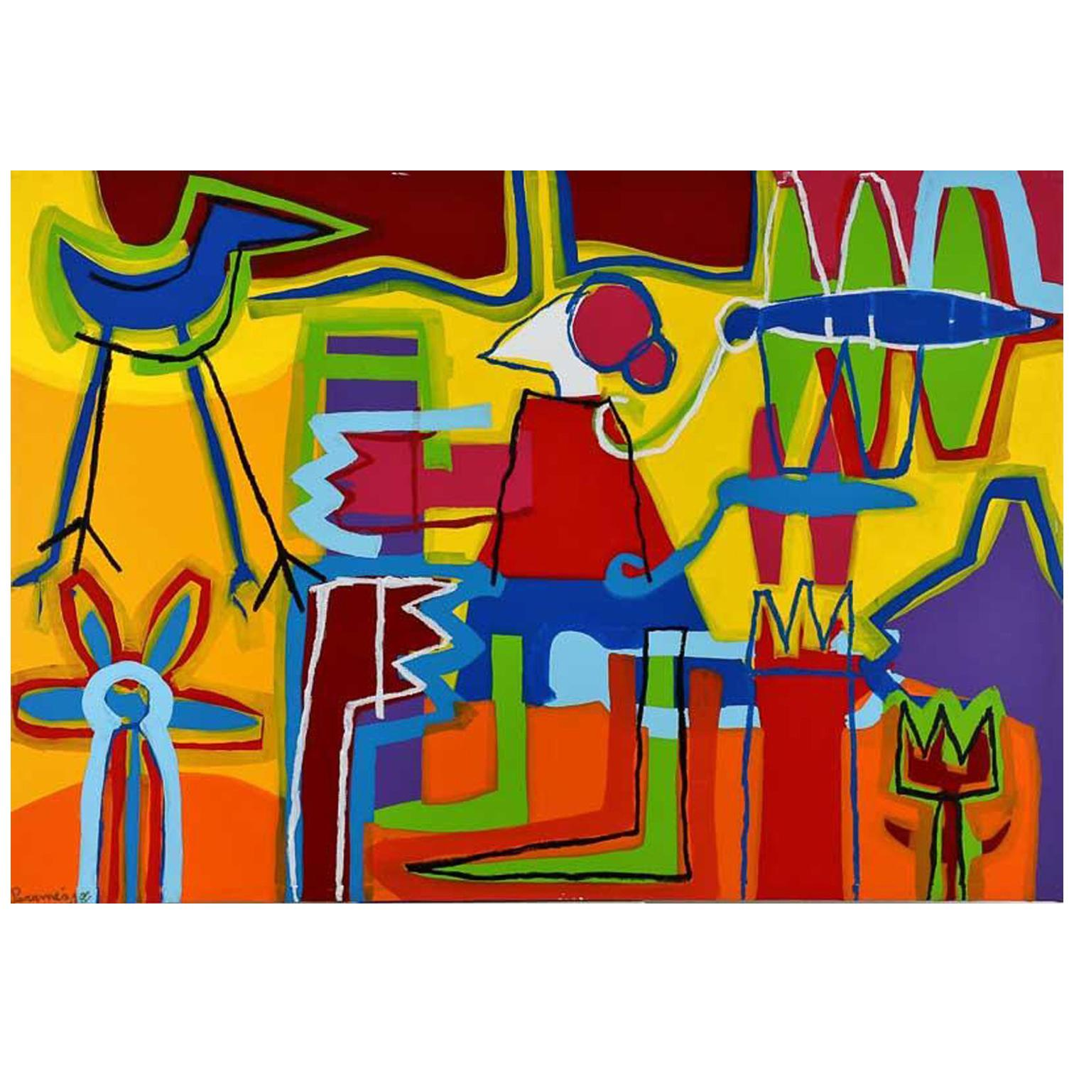 """""""A Garden Made by Me"""" Large Abstract Expressionist Painting Acrylic on Canvas"""