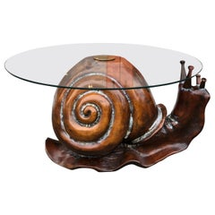 Whimsical Carved Wood Snail with Circular Glass Top