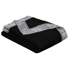 Merino Black King Size Blanket with Grey Print Border by JG SWITZER