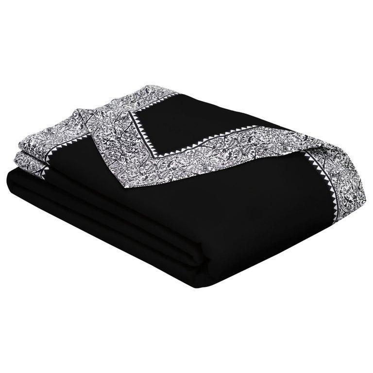 Merino Black King Size Blanket with Grey Print Border by JG SWITZER For Sale