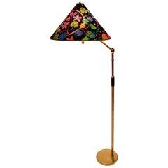 Art Deco Era Brass Floor Lamp by Kaspar & Sic Vienna, 1932 Josef Frank Fabric