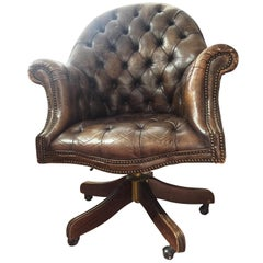20th Century Chester Leather English Armchair with Wheels