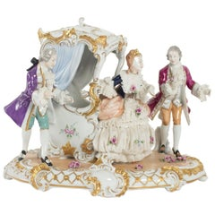Group Porcelain Representative in a Carriage of Elegants with a Courtesan