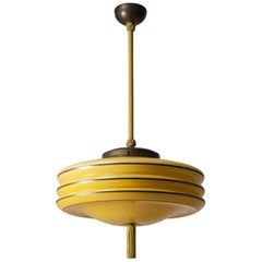 Art Deco Pendant, circa 1930, Amber Glass, Silver Paint and Brass