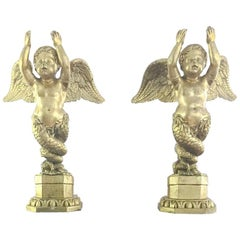 Pair of 19th Century Wood French Angels Sculptures