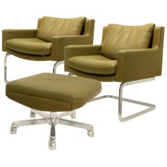 Pair of Executive Armchairs and Hocker by Robert Haussmann for the Sede