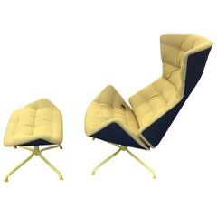 Yellow and Gray Thonet 808 Recliner Lounge Chair