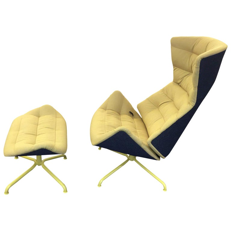 Yellow and Gray Thonet 808 Recliner Lounge Chair For Sale