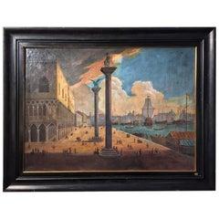 19th Century Italian School Oil Painting on Canvas Venice Signed Original Frame