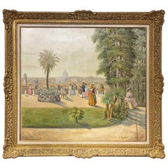 19th Century Oil Painting on Canvas Rome Landscape from Villa Medici Signed