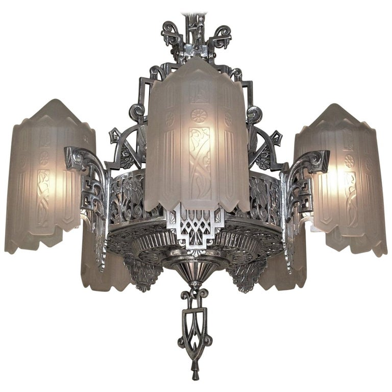Grande Dame of American Art Deco Lighting, circa 1932 For Sale