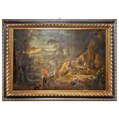 Late 18th Century Nordic Oil Painting on Canvas Landscape