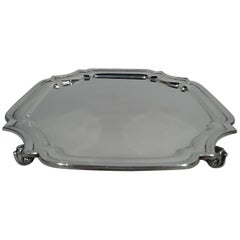 Antique English Georgian-Style Sterling Silver Salver Tray