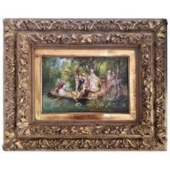 19th Century Oil Painting on Wood Villa Borghese Scene in Rome LAST PRICE