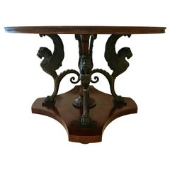 Neoclassical Center Table with Griffin Base
