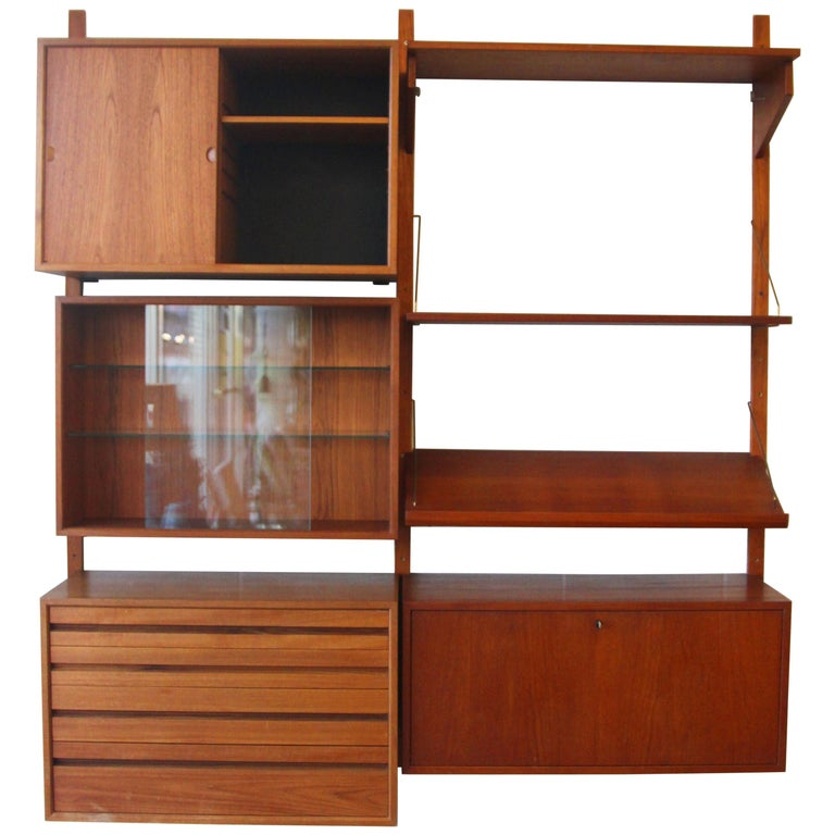 Teak Wall System Unit by Poul Cadovius for Cado For Sale