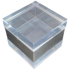 Box Lucite and Chromed Metal, Style Gabriella Crespi, Plexiglass Italy, 1970s
