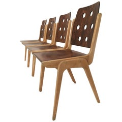Set of Four Stacking Chairs Franz Schuster, Duo-Colored, Austria, 1950s