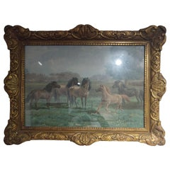 19th Century Napoleon III Watercolor on Canvas Horses Scene Signed