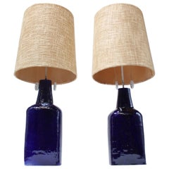 Pair of Mid-Century Swiss Oversized Ceramic Table Lamps by Mattli
