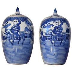 Pair of Chinese Porcelain Blue Lidded-Jars w/ Bats, Dragon-Horse & Rider, c 1880