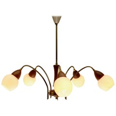 Vintage Chandelier Six Arms in the Style of Stilnovo, Brass and Wood, Italian