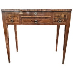 19th Century Napoleon III Rosewood Inlaid French Vanity Table Writing Desk