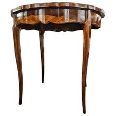 19th Century Napoleon III Walnut Root French Tea Table Restored