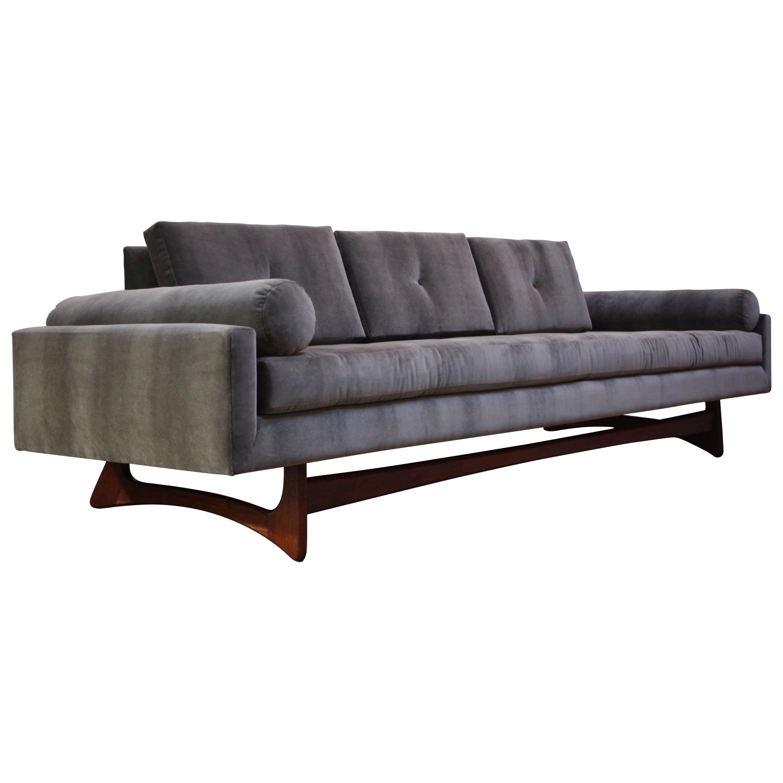 Adrian Pearsall for Craft Associates 'Gondola' Sofa in Walnut and Velvet