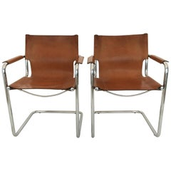 Matteo Grassi Cantilever Side Chairs Pair, Italy, 1970s