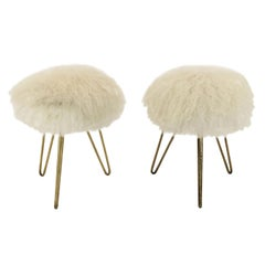 Pair of Sheep Fur Stools after Jean Royère, France, 1950s