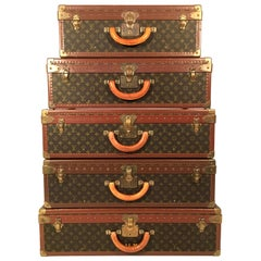 "Louis Vuitton Monogram Canvas Alzer Suitcase Trunk Collection ""Pyramid"""