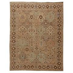 Brown Vintage Persian Tabriz Carpet