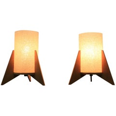 Pair of Midcentury table lamps, Rockets, Pokrok Zilina, 1970s