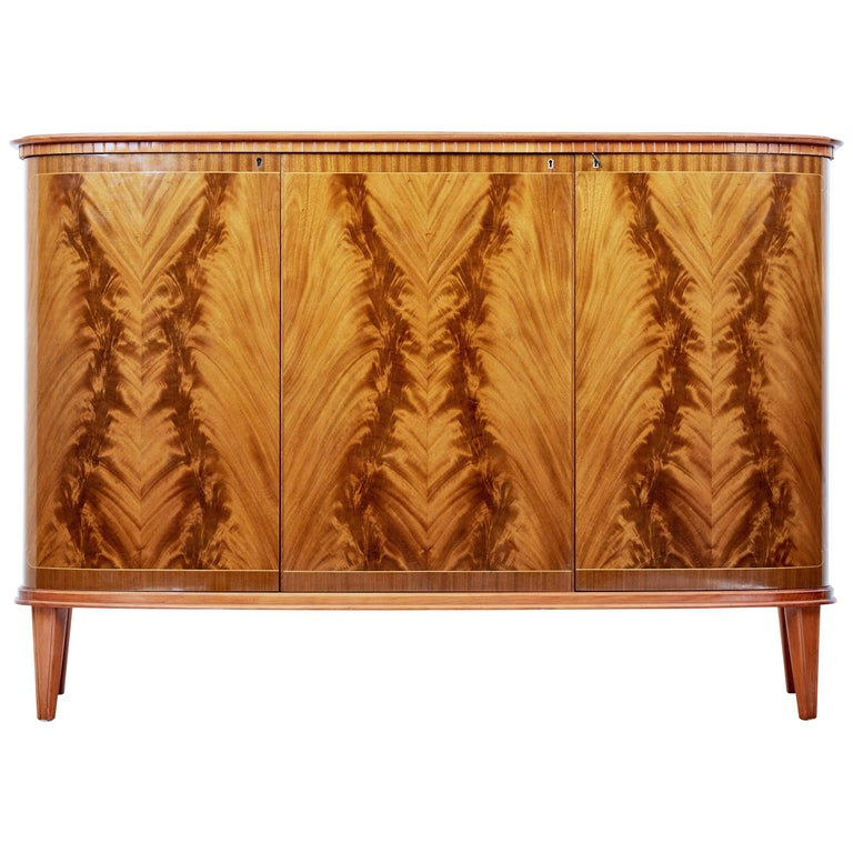Mid-20th Century Scandinavian Flame Mahogany Sideboard For Sale