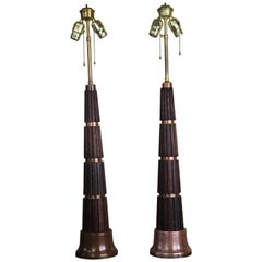 Stunning Pair of Oak and Copper Table Lamps