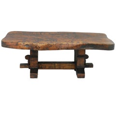 Midcentury Coffee Table Live Edge Olive Wood Trestle Rustic Primitive French