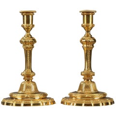 19th Century Gilt Bronze Candlesticks in Regence Style