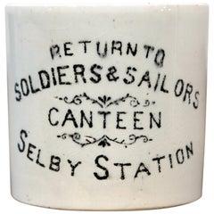 Rare First World War Period Serviceman's Canteen Mug, English Made Pottery